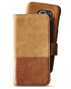 Plånboksväska, Läder/mocka, Samsung S7 Edge, Magnetisk, Brun - Holdit - Samsung S7